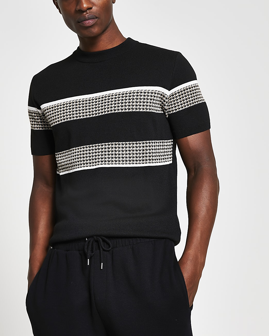 Black slim fit check block knitted t-shirt