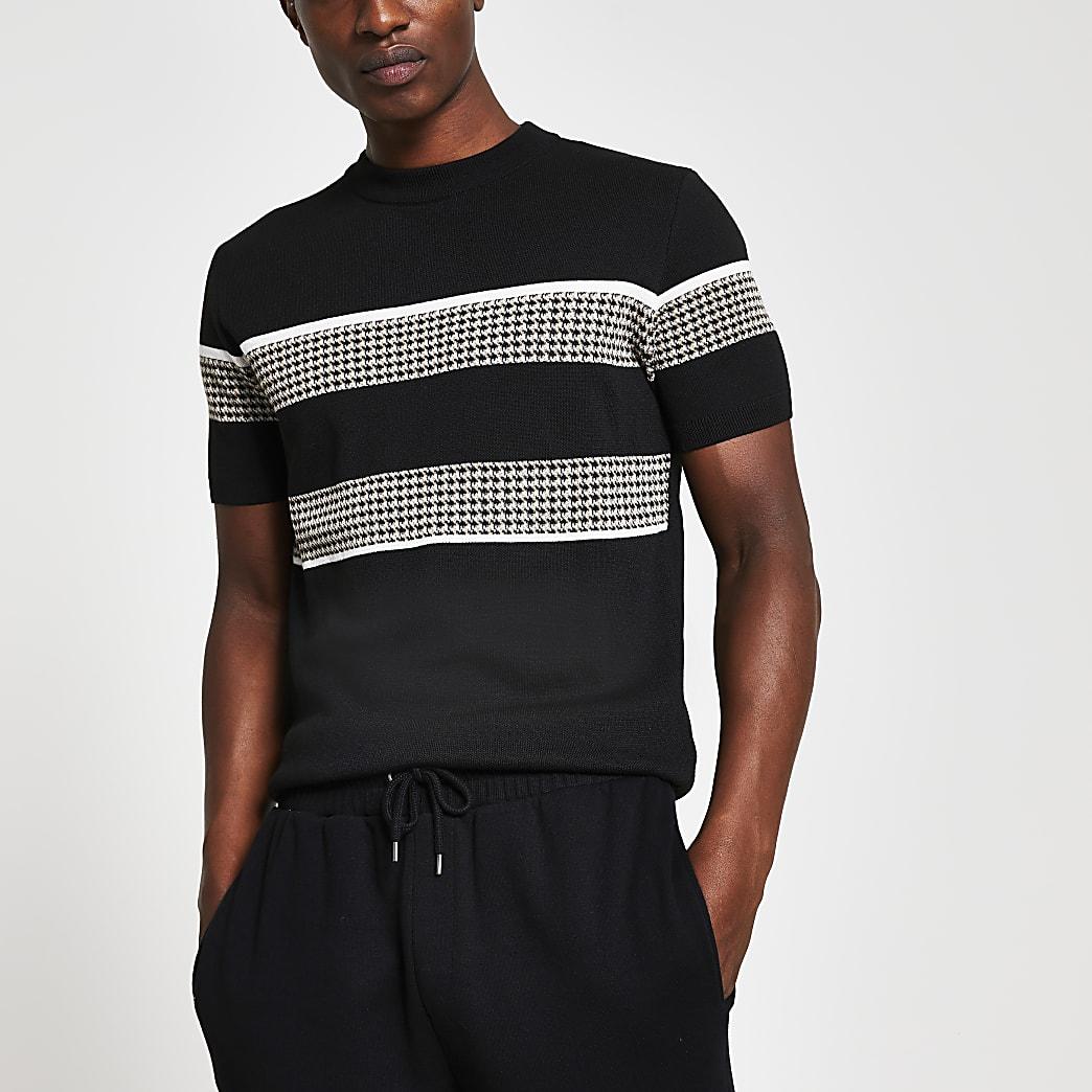 Black slim fit check block print t-shirt