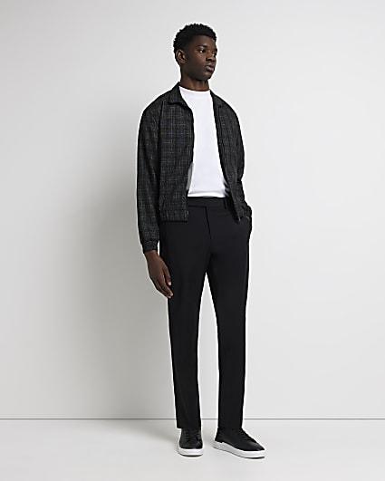 Black slim fit check funnel neck jacket
