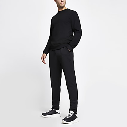 Black slim fit chevron texture jogger