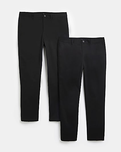 Black slim fit chino trousers multipack