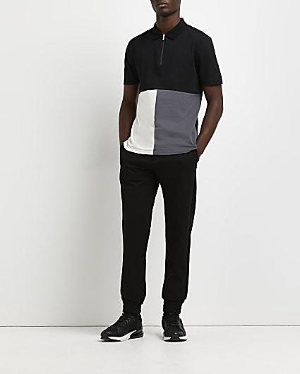 Black slim fit colour block polo shirt