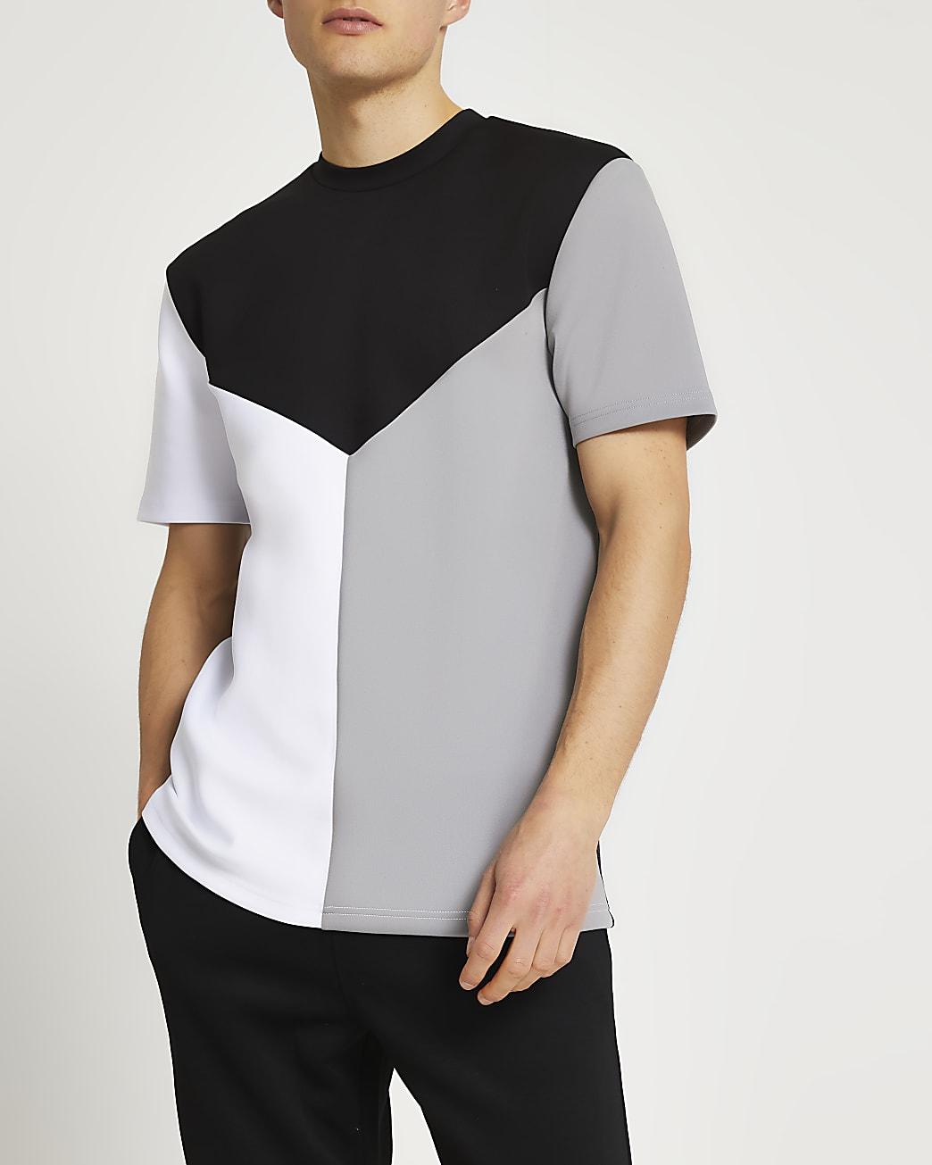 Black slim fit colour block scuba t-shirt