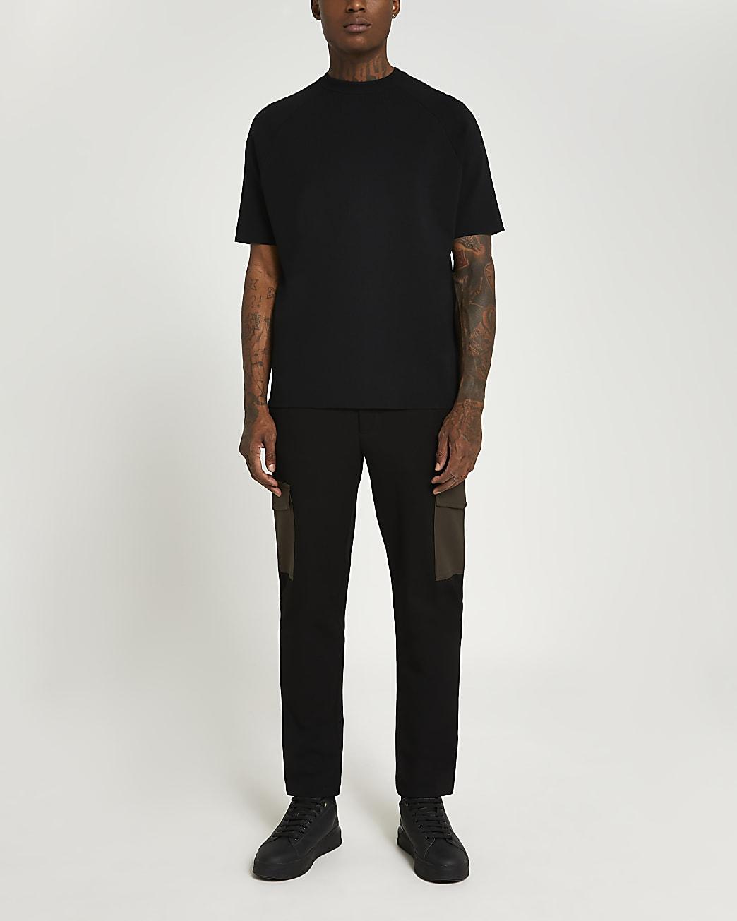 Black slim fit contrast pocket cargo trousers