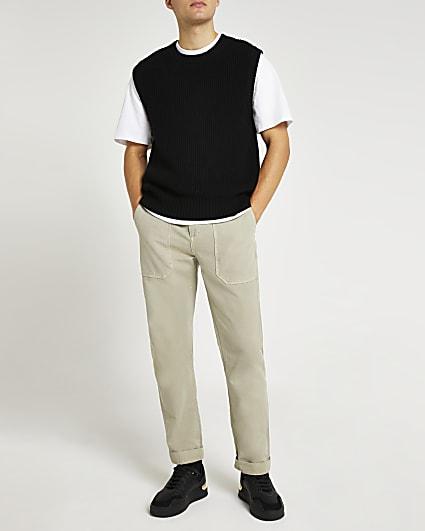Black slim fit crew neck knitted vest