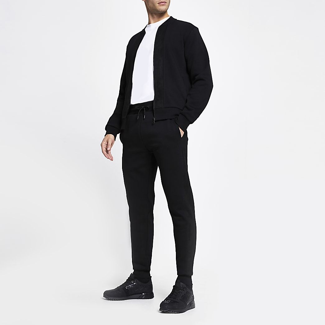 Black slim fit faux suede blocked joggers