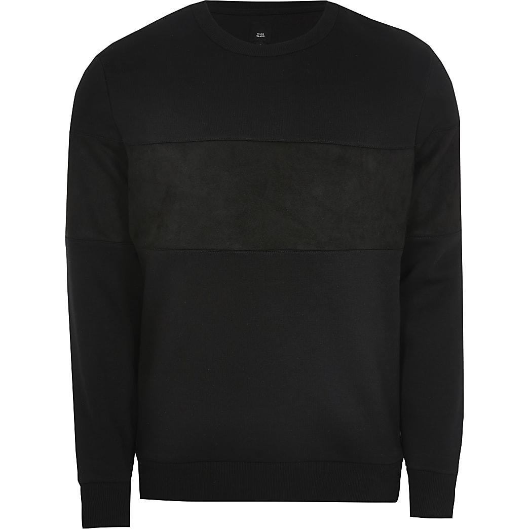 Black slim fit faux suede blocked sweatshirt