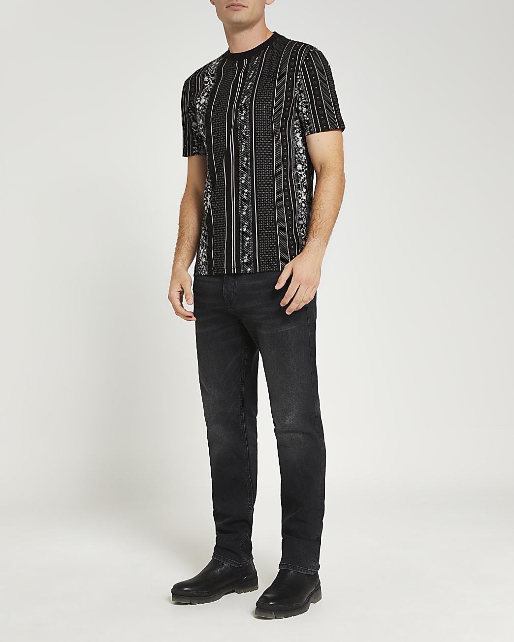 Black slim fit floral stripe t-shirt