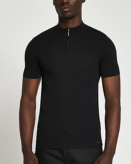 Black slim fit half zip smart knit t-shirt