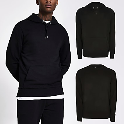 Black slim fit hoodie & sweatshirt set