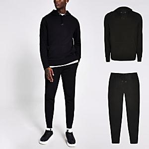 Zwart slim-fit trainingspak met hoodie en joggingbroek