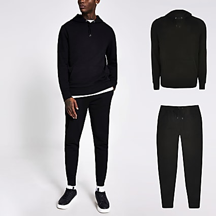 Black slim fit hoodie and jogger tracksuit