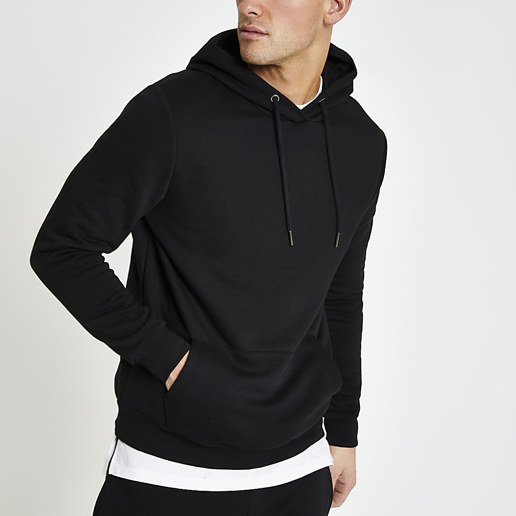 Black slim fit long sleeve hoodie