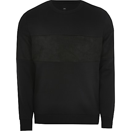 Black slim fit long sleeve Sweatshirt