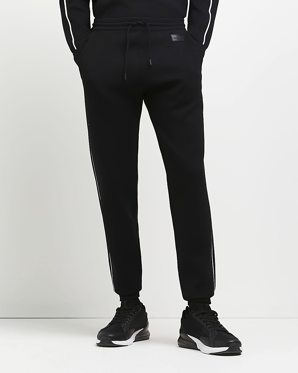 Black slim fit piping detail joggers