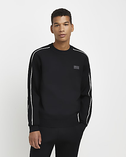 Black slim fit piping detail sweatshirt
