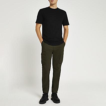 Black slim fit pique curved hem t-shirt