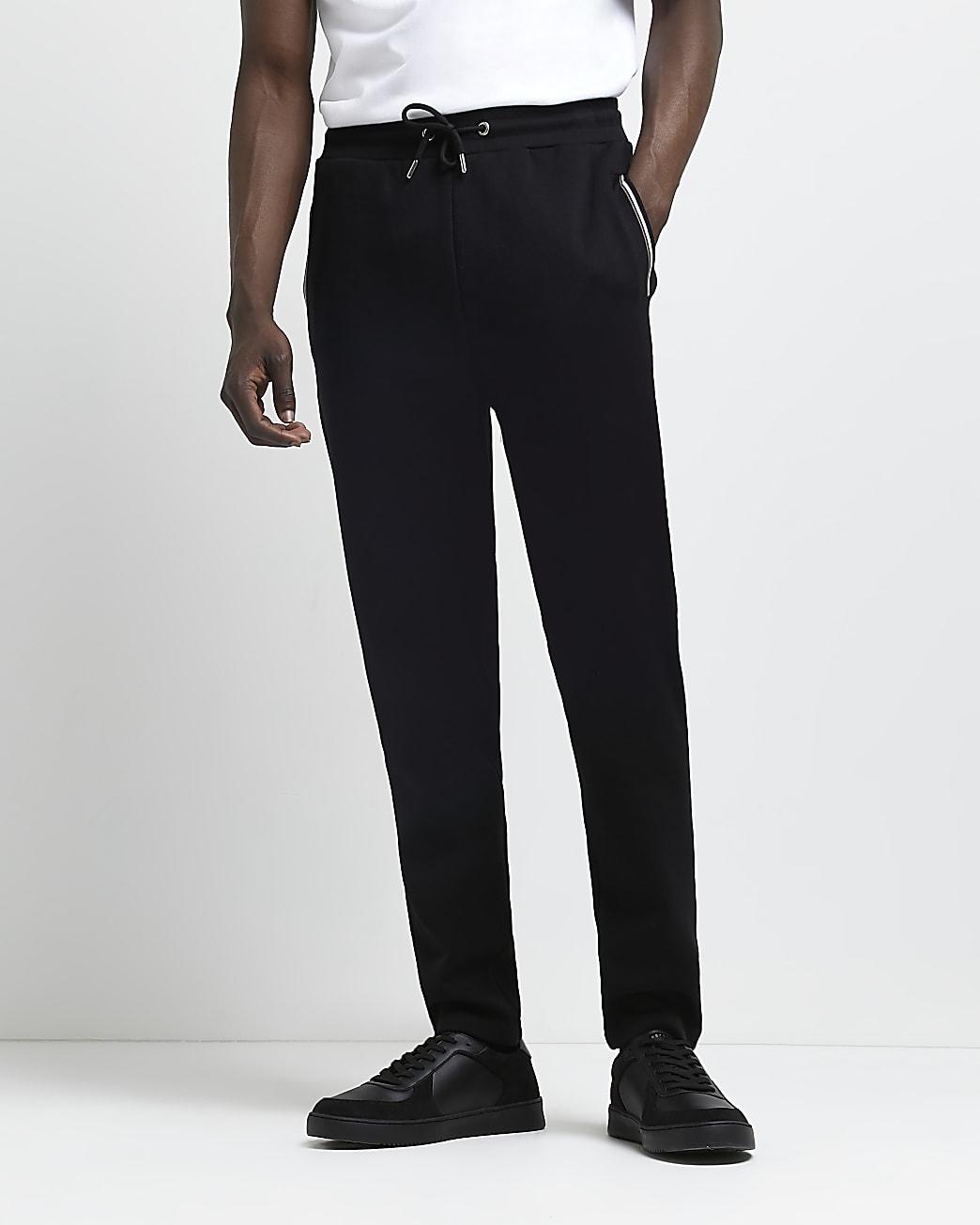 Black slim fit pocket stripe joggers
