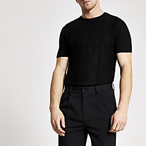 Schwarzes Slim Fit Strick-T-Shirt im Pointelle-Stil