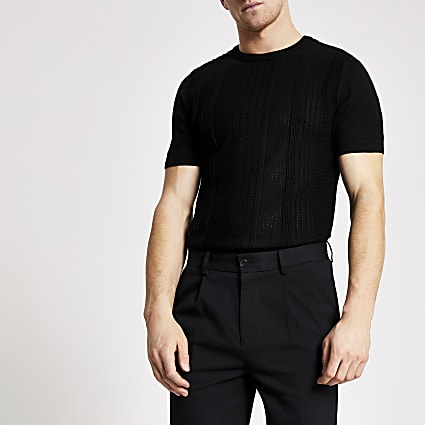 Black slim fit pointelle knitted T-shirt