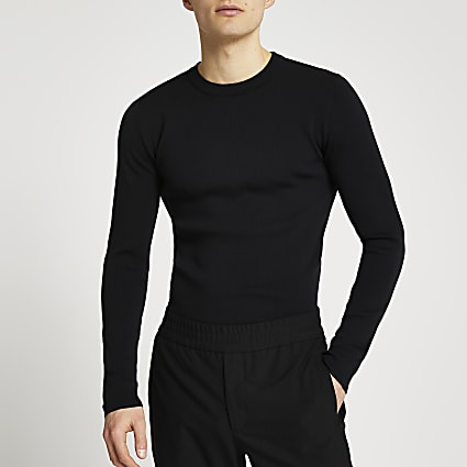 Black slim fit premium knit jumper