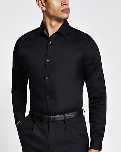 Black slim fit premium long sleeve shirt
