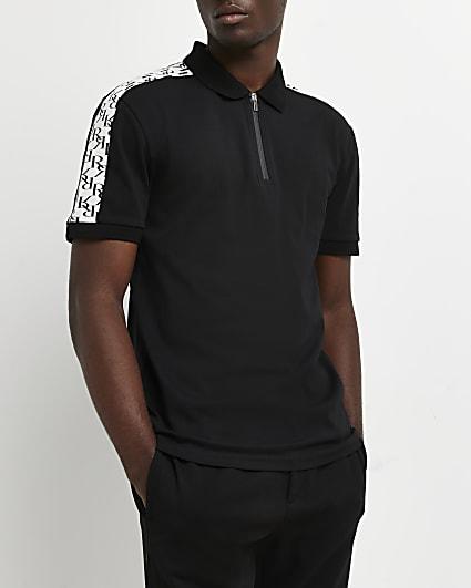 Black slim fit RI monogram polo shirt