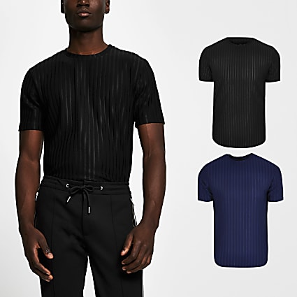 Black slim fit ribbed t-shirt 2 pack