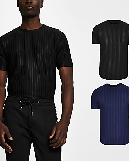 Black slim fit ribbed t-shirts 2 pack