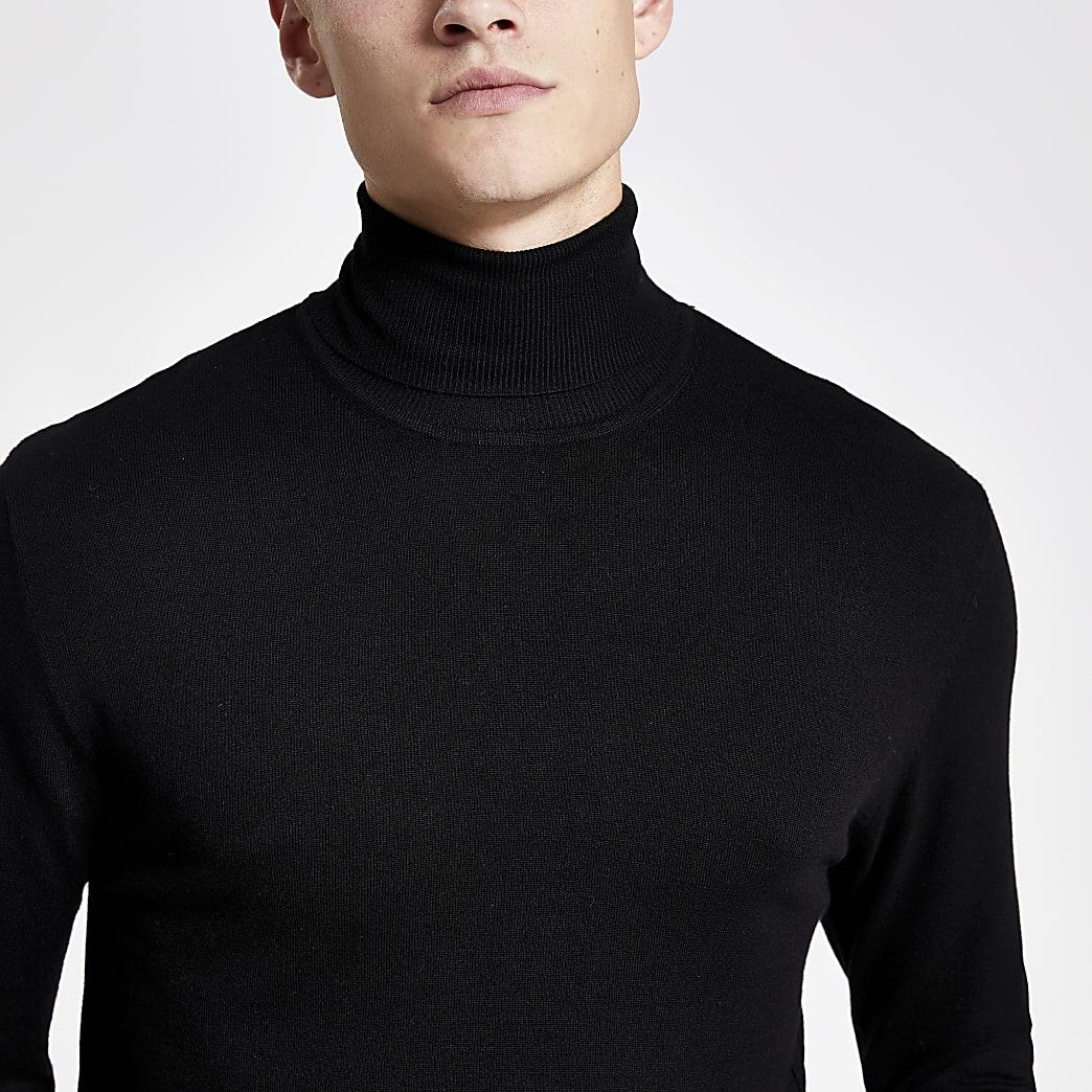 Black slim fit roll neck jumper