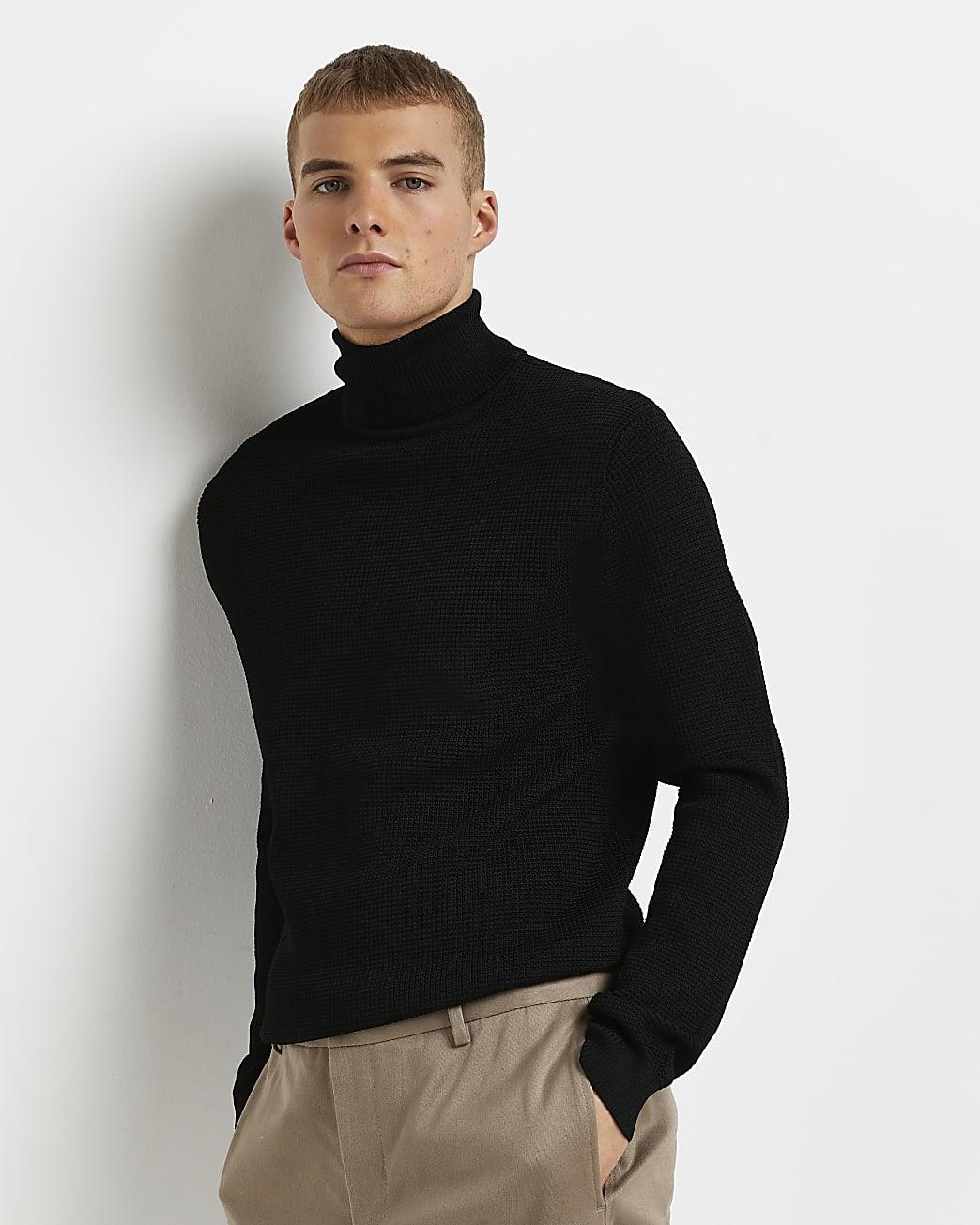 Black slim fit roll neck waffle jumper