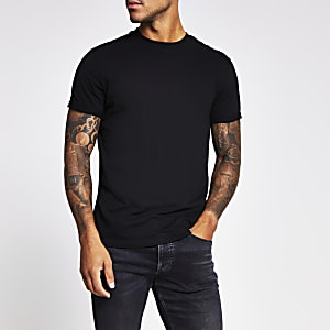 Black slim fit roll sleeve T-shirt