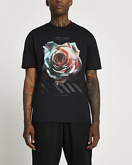Black slim fit rose graphic t-shirt