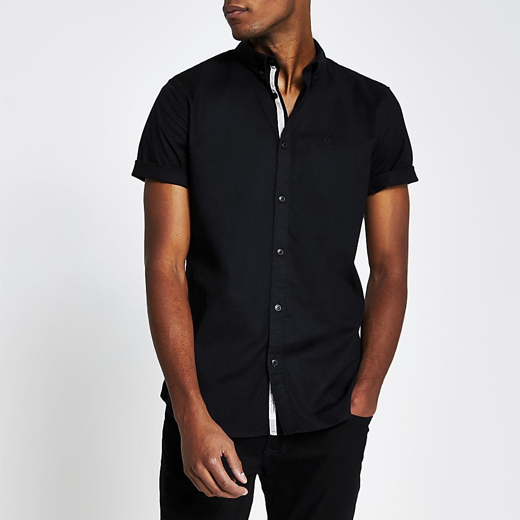 Black slim fit short sleeve oxford shirt