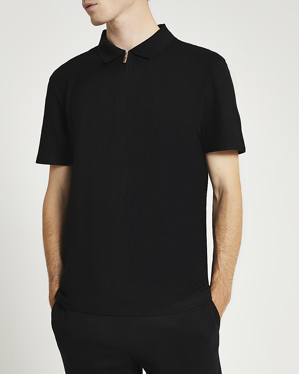Black slim fit short sleeve polo shirt