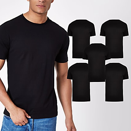 Black slim fit short sleeve t-shirts 5 pack