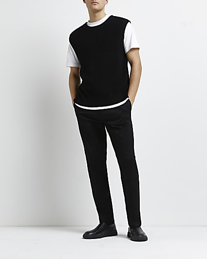 Black slim fit smart chino trousers