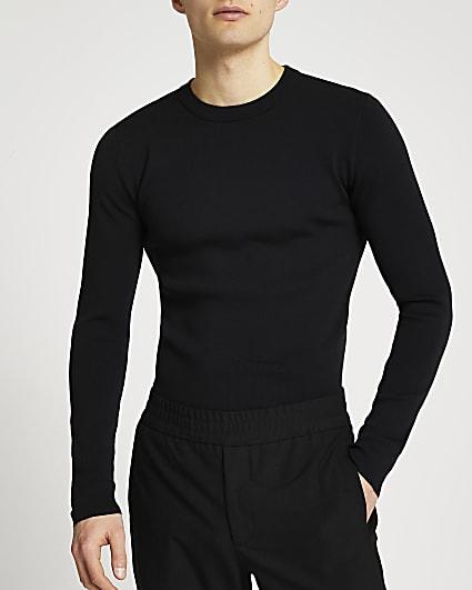 Black slim fit smart knit jumper