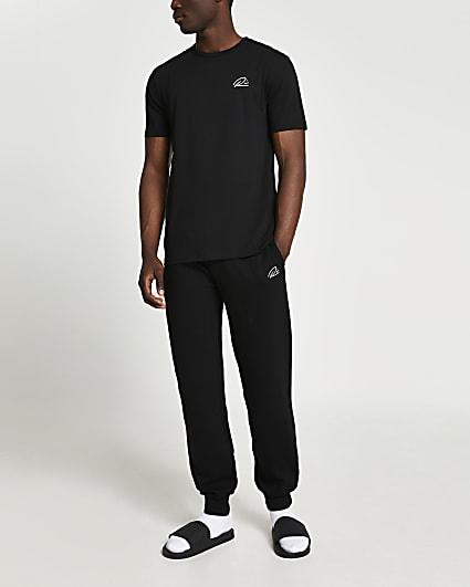 Black slim fit t-shirt and joggers set
