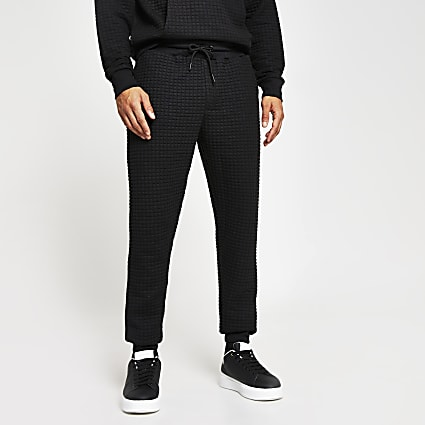 Black slim fit textured Jogger