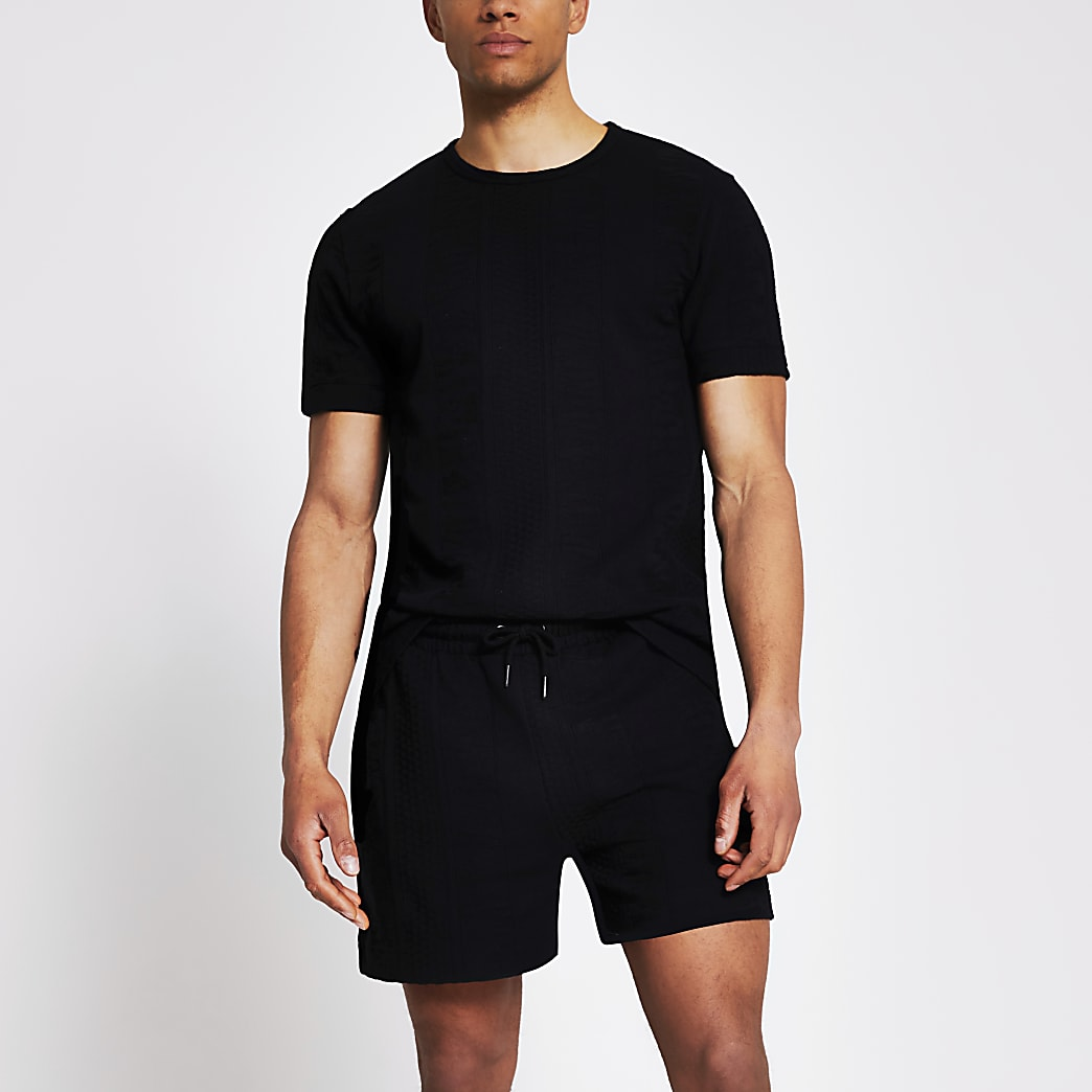 Black slim fit textured shorts