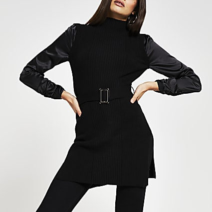 Black slim fit turtle neck knitted top