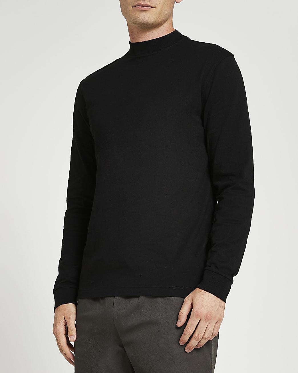 Black slim fit turtle neck t-shirt