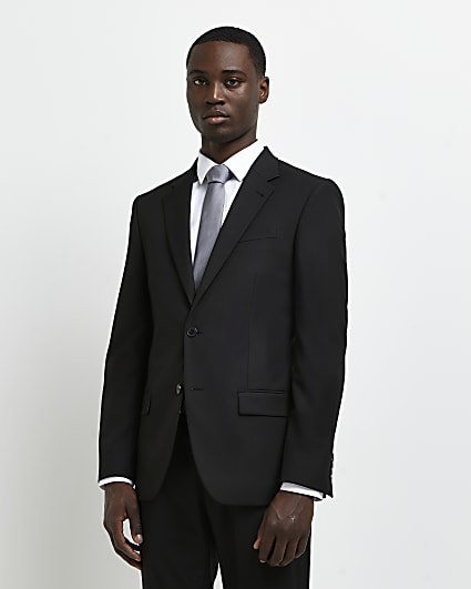 Black slim fit twill suit jacket