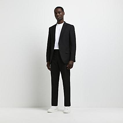 Black slim fit twill suit trousers