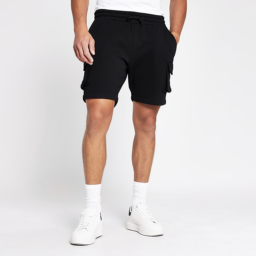 Black slim fit utility shorts