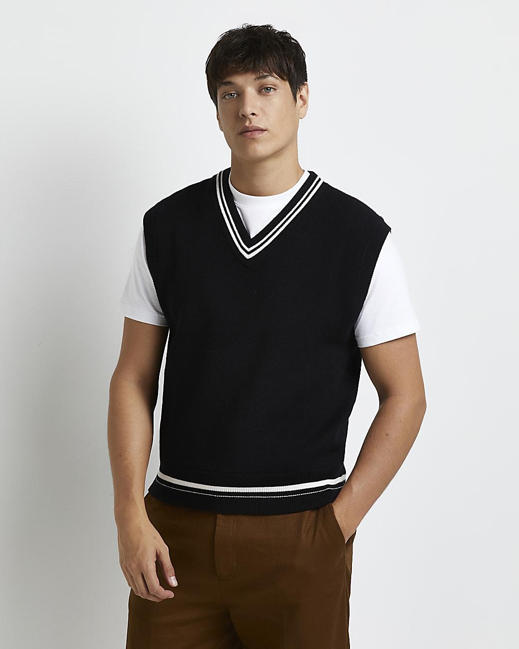 Black slim fit v neck knitted vest