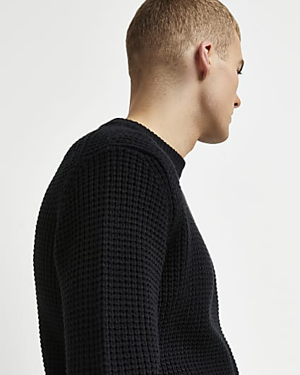 Black slim fit waffle jumper