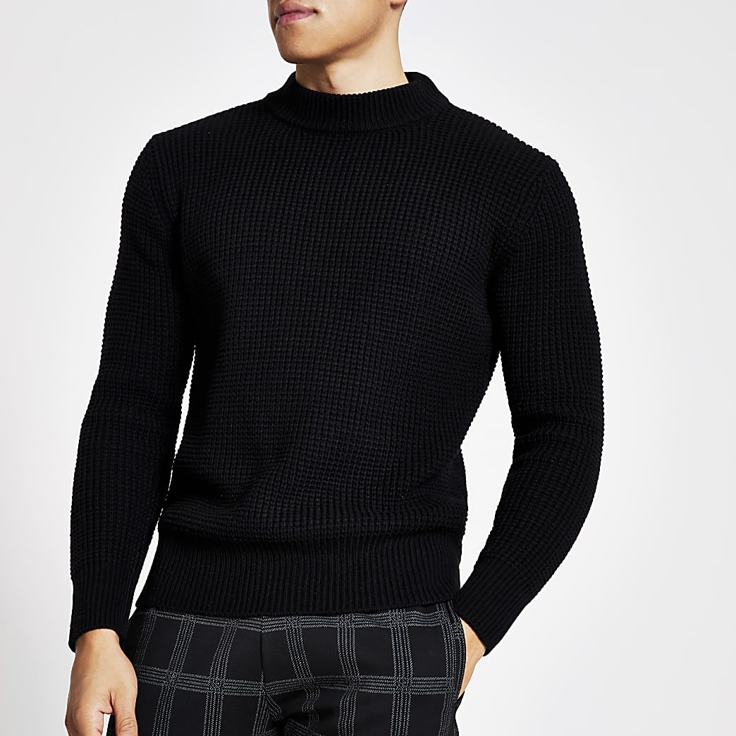 Black slim fit waffle knitted jumper