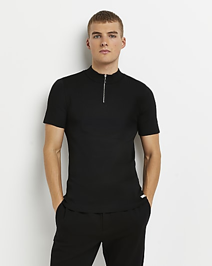Black slim fit zip neck knitted polo shirt